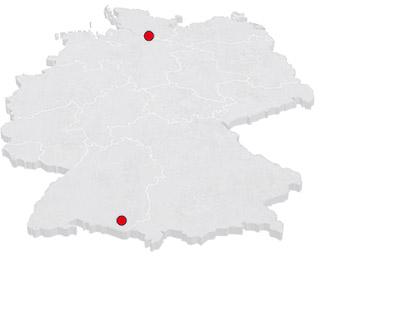 Karte der BRD mit voplan-Büros in Ravensburg und Hamburg